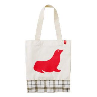 Cute Red Sea Lion 4Katrina Zazzle HEART Tote Bag