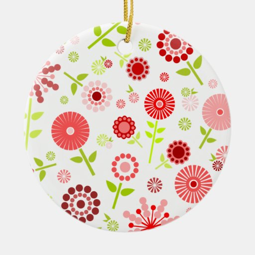 Cute red spring flowers christmas tree ornaments