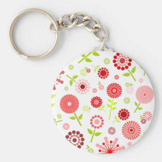 Cute red spring flowers keychain