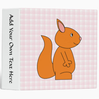 Cute Red Squirrel Cartoon on Pink Check 3 Ring Binder