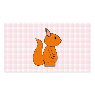 Cute Red Squirrel Cartoon on Pink Check Business Card