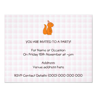 Cute Red Squirrel Cartoon on Pink Check Card