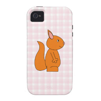Cute Red Squirrel Cartoon on Pink Check iPhone 4/4S Case