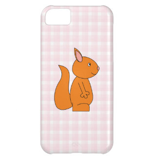 Cute Red Squirrel Cartoon on Pink Check iPhone 5C Cover