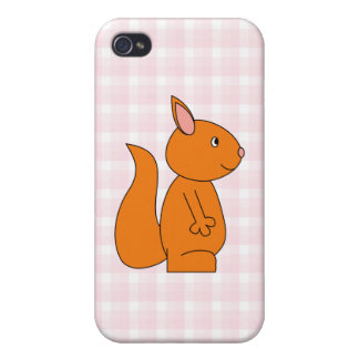 Cute Red Squirrel Cartoon on Pink Check Covers For iPhone 4