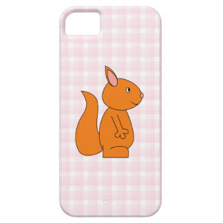 Cute Red Squirrel Cartoon on Pink Check iPhone SE/5/5s Case