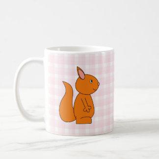 Cute Red Squirrel Cartoon on Pink Check Mug