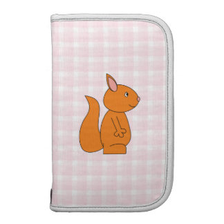Cute Red Squirrel Cartoon on Pink Check Organizers