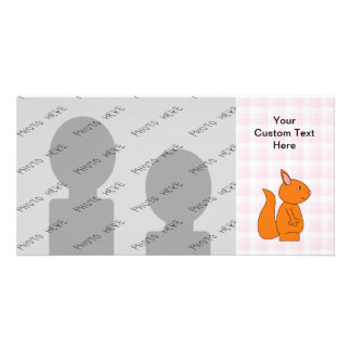 Cute Red Squirrel Cartoon on Pink Check Photo Cards