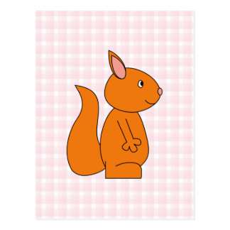 Cute Red Squirrel Cartoon on Pink Check Postcard