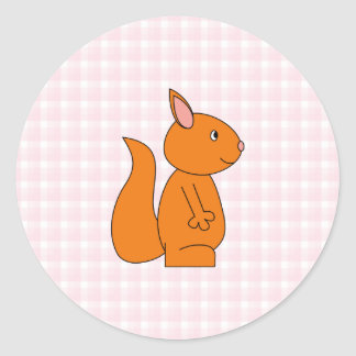Cute Red Squirrel Cartoon on Pink Check Round Stickers
