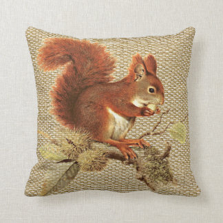 Cute Red Squirrel On Burlap Texture Pattern Throw Pillow