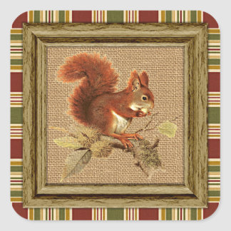 Cute Red Squirrel On Faux Jute Burlap Square Sticker