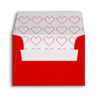 Cute red stitch hearts envelope liner design