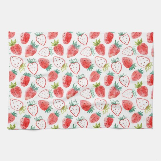 Cute Red Strawberries Green Leaves Kitchen Towel