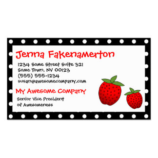 Cute Red Strawberry Black Polka Dot Business Card
