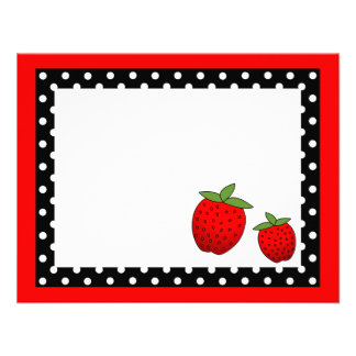 Cute Red Strawberry Flat Thank You Note Cards Invitation