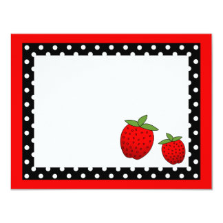 Cute Red Strawberry Flat Thank You Note Cards