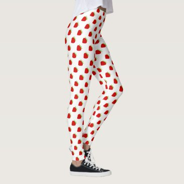 Beach Themed Cute Red Strawberry Pattern Leggings