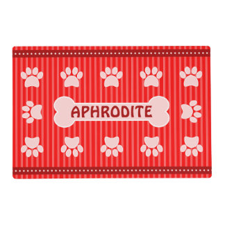 Cute Red Stripes Bone and Dog Paws Double Sided Placemat