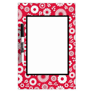 Cute red summer flowers dry erase board