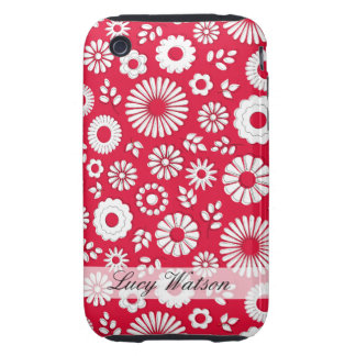 Cute red summer flowers tough iPhone 3 covers