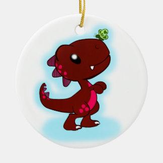 Cute Red T-Rex Ceramic Ornament
