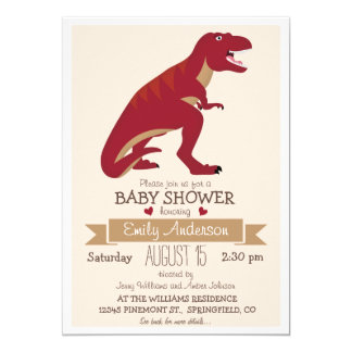 Cute Red T-Rex Dinosaur Baby Shower or Sprinkle 5x7 Paper Invitation Card