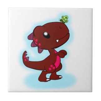 Cute Red T-Rex Tile