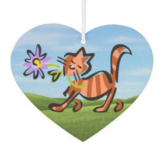 Cute Red Tabby Cartoon Cat Car Air Freshener