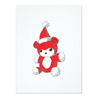 Cute Red Teddy Bear Santa Hat Invitation Stamps