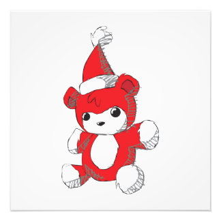Cute Red Teddy Bear Santa Hat Pillows Buttons Pins Photographic Print