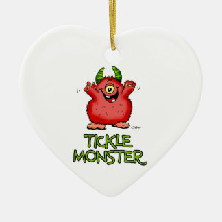 Cute red tickle Monster by send2smiles Ceramic Ornament