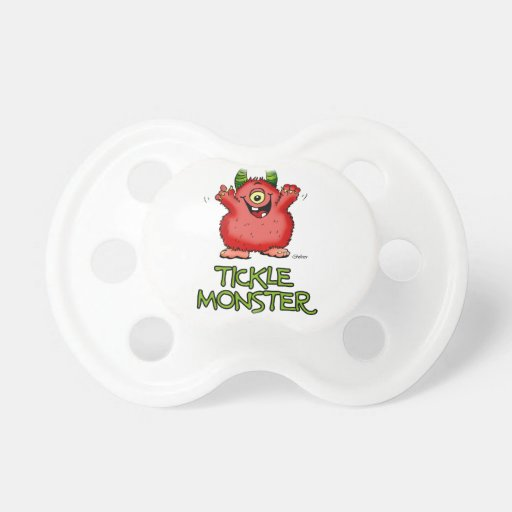 Cute red tickle Monster by send2smiles Baby Pacifiers