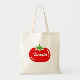 Cute red tomato fruit tote bag with custom text