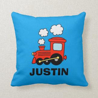 Cute red toy choo choo train kids bedroom pillow