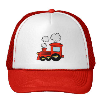 Cute red toy choo choo train trucker hat for kids