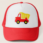 "Cute red toy dump truck trucker hat for kids<br><div class=""desc"">Cute red toy dump truck trucker hat for kids. Funny gift idea for boys. Dumptruck illustration. Vector dumpster construction vehicle for children. Personalizable with name. Sweet gift idea for birthday party. Make one for son,  grandson,  grandchild,  brother etc.</div>"