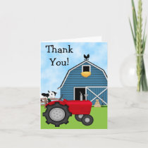 Cute Red Tractor and Blue Barn Thank You