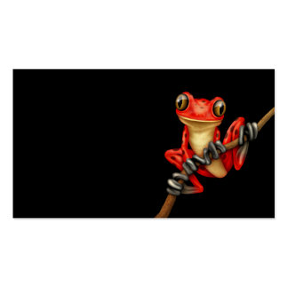 Cute Red Tree Frog on a Branch on Black Business Card