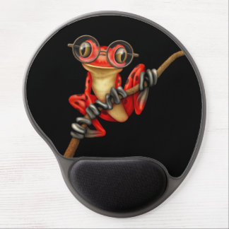 Cute Red Tree Frog with Eye Glasses on Black Gel Mouse Pads