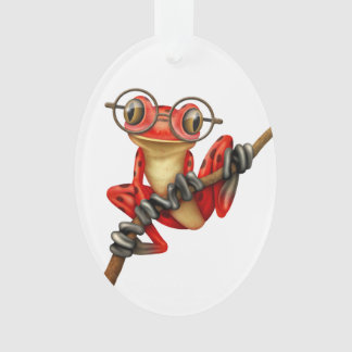 Cute Red Tree Frog with Eye Glasses on White Ornament