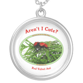 Cute Red Velvet Ant Wasp Round Pendant Necklace