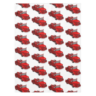 Charmant Cute Red Vintage Fire Truck Tablecloth