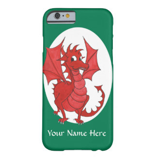 Cute Red Welsh Dragon, Green and White Background Barely There iPhone 6 Case