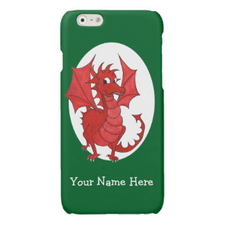 Cute Red Welsh Dragon, Green and White Background Glossy iPhone 6 Case
