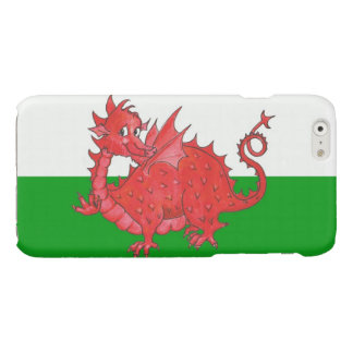 Cute Red Welsh Dragon Green and White Background Glossy iPhone 6 Case