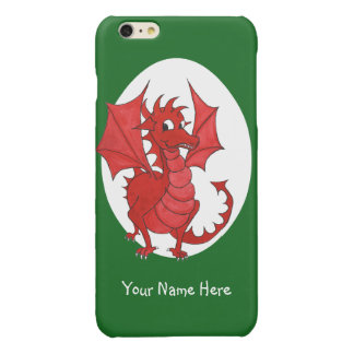 Cute Red Welsh Dragon, Green and White Background Glossy iPhone 6 Plus Case
