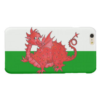 Cute Red Welsh Dragon Green and White Background Glossy iPhone 6 Plus Case