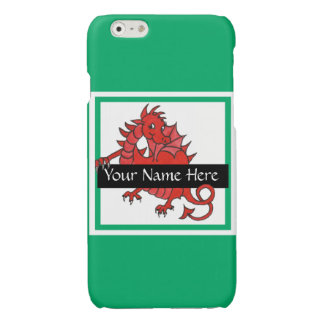 Cute Red Welsh Dragon on Green Background Glossy iPhone 6 Case